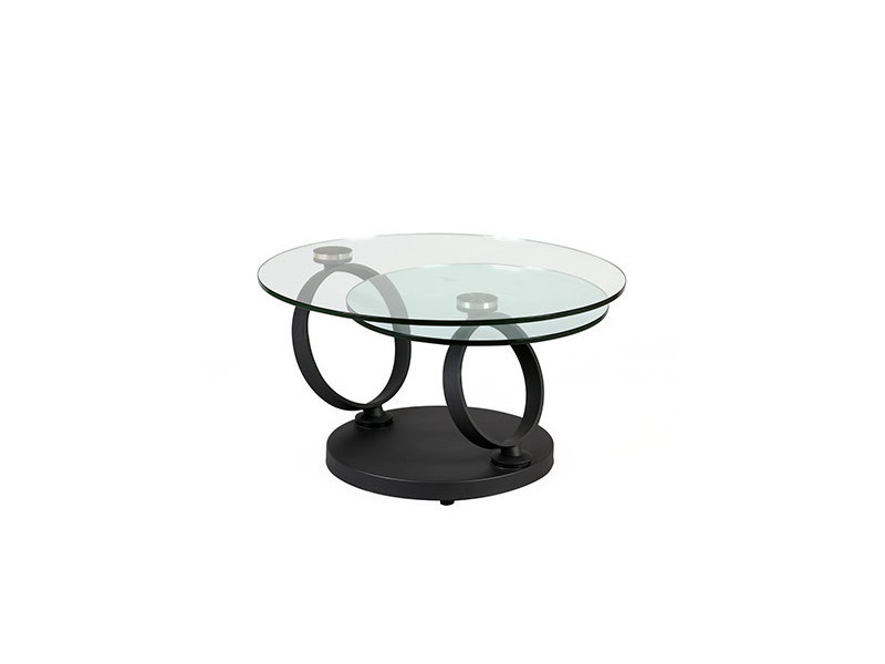 Table Basse Ronde En Verre Trempé Et Pied Anthracite