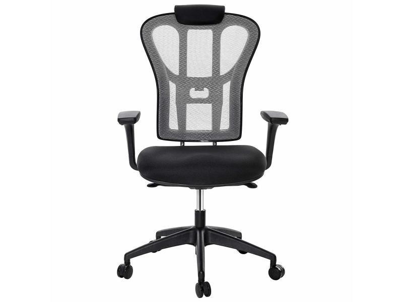 chaise de bureau conforama tissu noir avec poigner