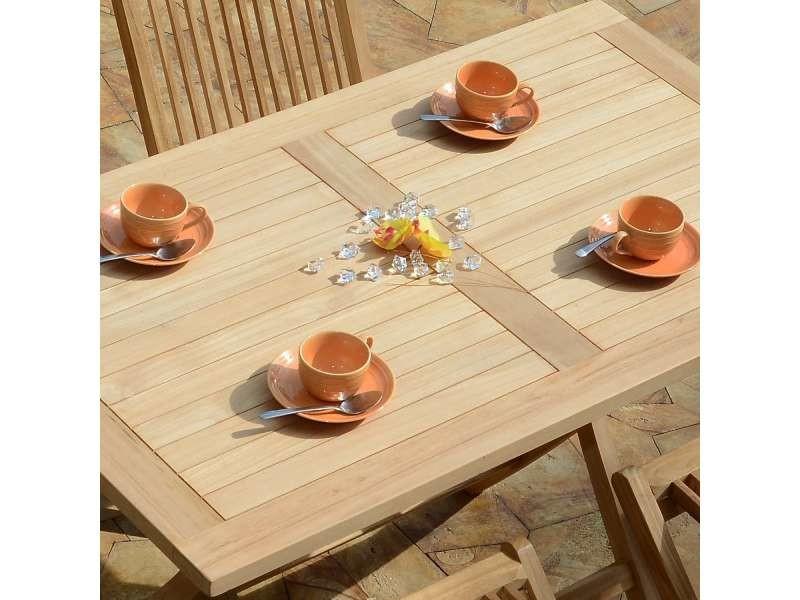 Table de jardin en teck pliable 120 x 70 cm - kensaï Teck massif de ...