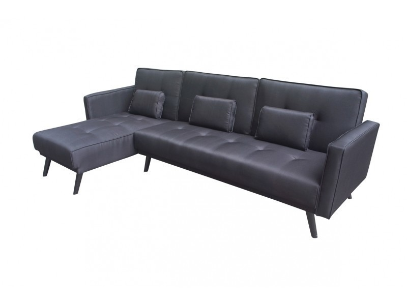 Canapé d'angle convertible tissu noir presto-