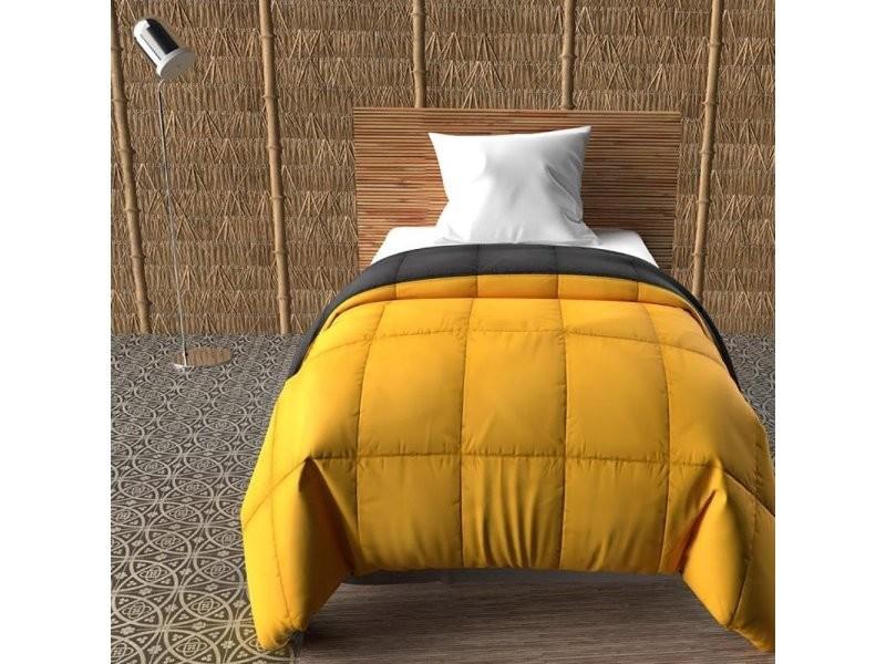 Couette bicolore 140x200 moutarde anthracite