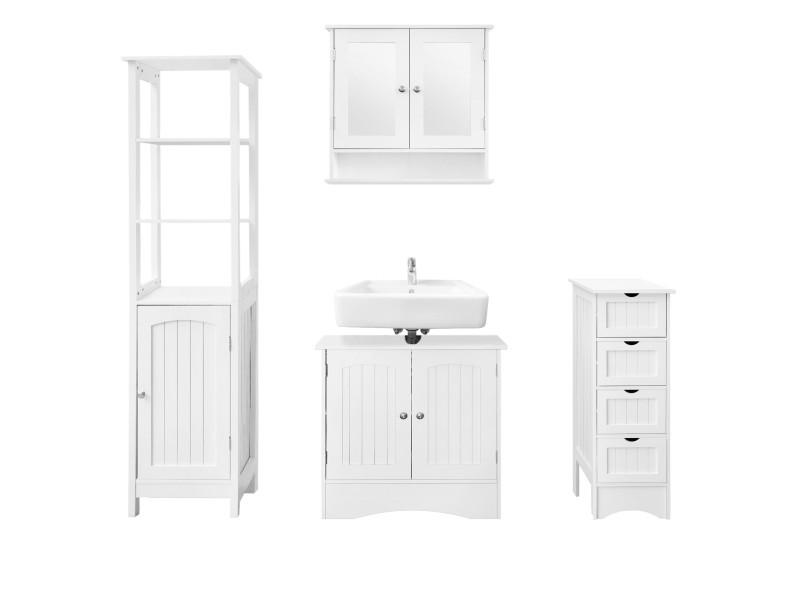 Ml-design set de 4 meubles de salle de bain blanc, en panneaux de particules mdf 490004792