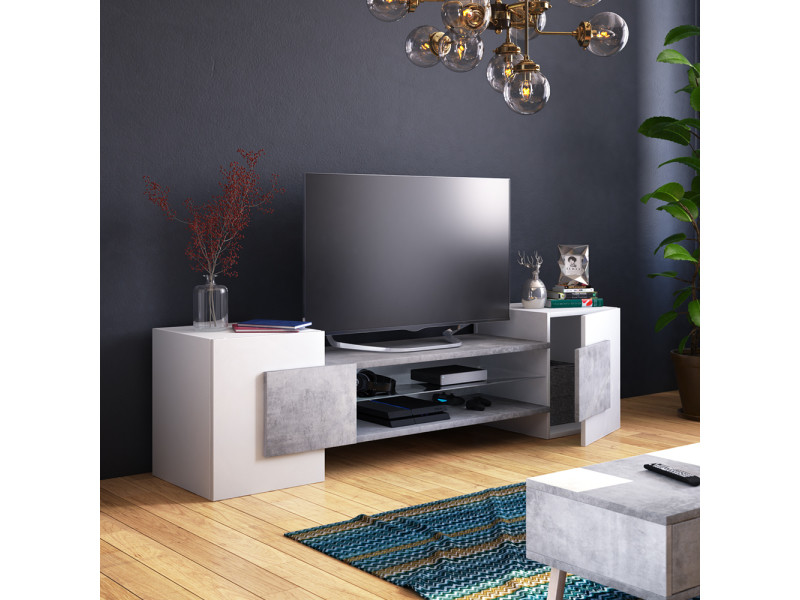 Meuble tv meuble de salon charles 160 cm blanc mat b ton sans led style - Meuble de salon contemporain ...