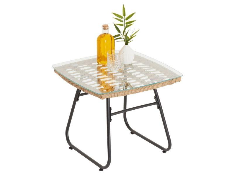 Table d'appoint pour jardin costa, table basse d'extérieur, plateau carré en verre et imitation rotin, piètement en acier noir