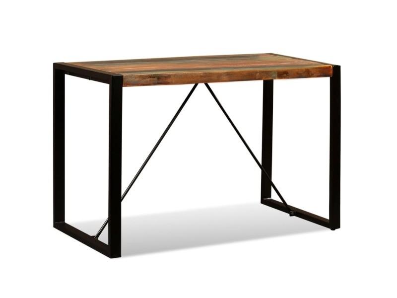 Vidaxl table de salle à manger bois de récupération massif 120 cm 243998