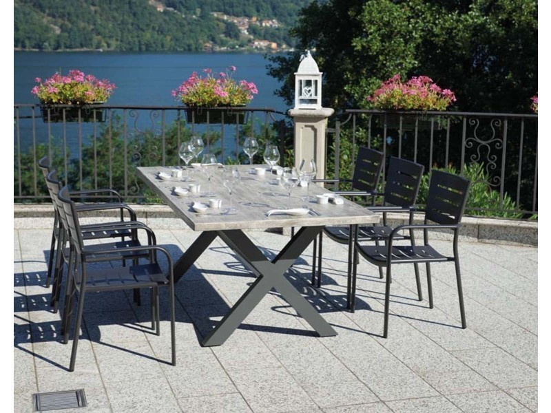 jardin Table de anthracite aluminium gris rectangulaire en lc1JFK