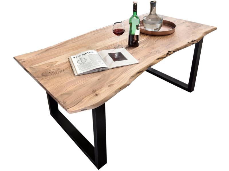 Table de salle à manger rustique 200x100 cm en bois massif ...