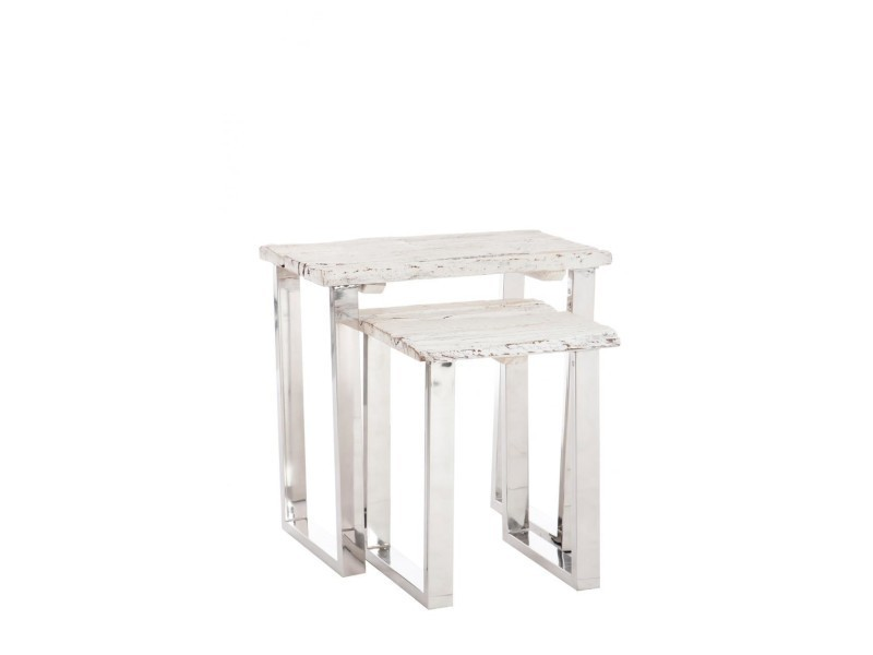 Table gigogne met/bs blanc - 1 pièce modele s B51909