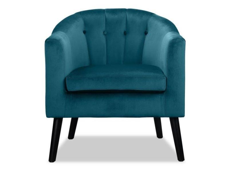 Fauteuil joyce fauteuil - velours vert émeraude - classique - l 70 x p 64 cm