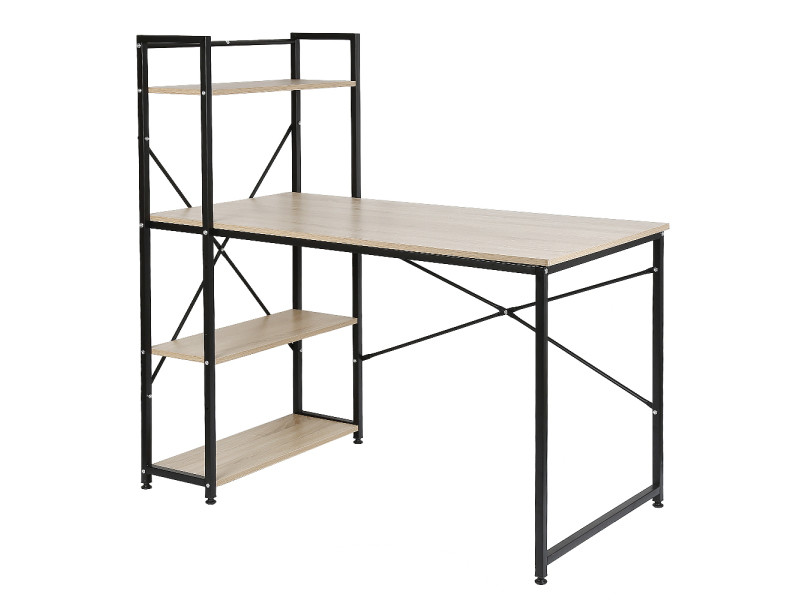 Bureau - table de bureau design industriel hombuy - couleur nour et chêne - 120 x 64 x 121 cm