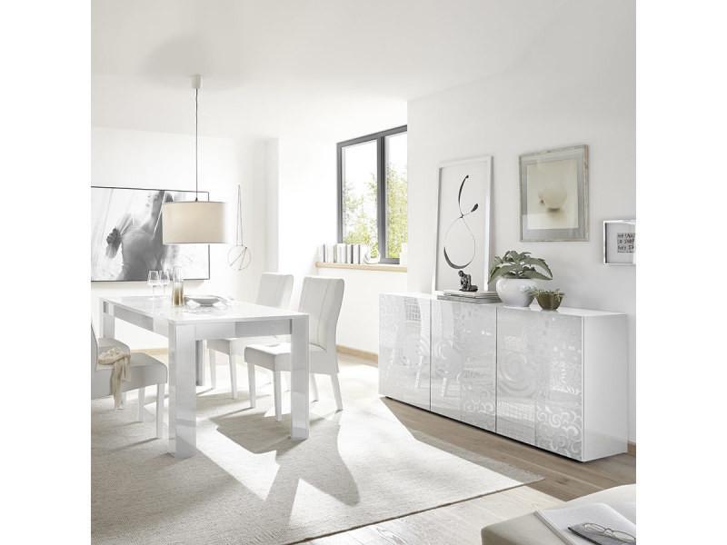 Salle à manger blanche laquée buffet 3 portes + table design ...