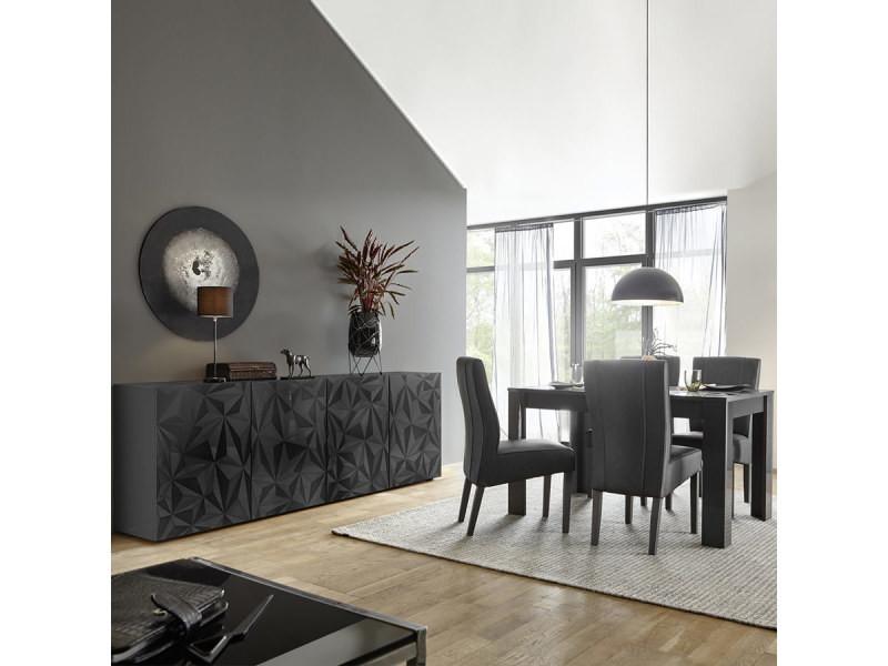 Salle à manger design buffet 4 portes + table 180 gris laqué paolo 3 ...