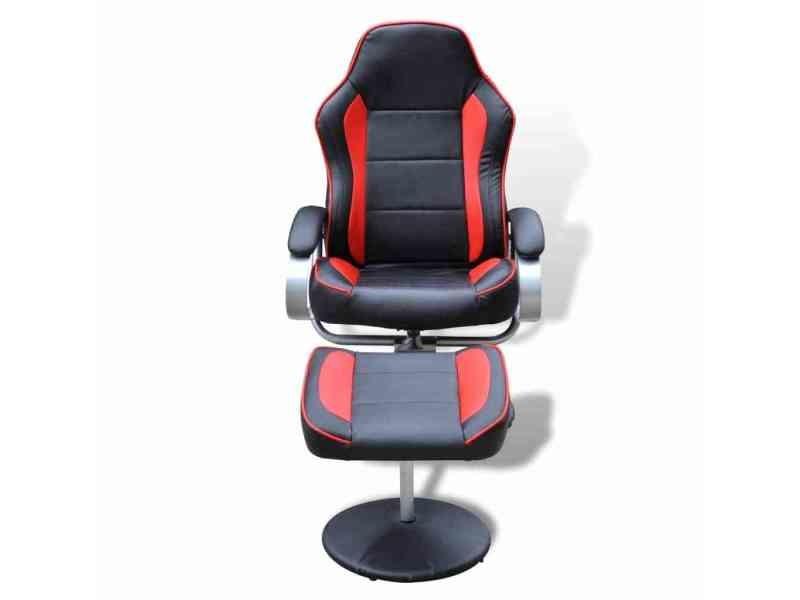 Icaverne - fauteuils club, fauteuils inclinables et chauffeuses lits ligne fauteuil avec repose-pied réglable cuir synthétique noir/rouge