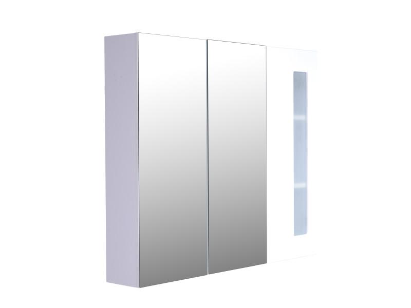 Armoire avec miroir en bois rangement salle de bain - Miroir salle de bain conforama ...