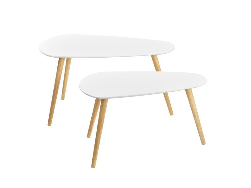 En Casa Table De Salon En Kit De 2 Blanc Et Blanc Pieds De Table