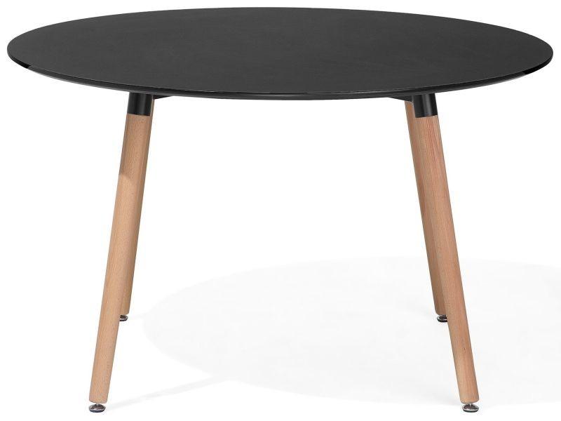Table de salle à manger - table de cuisine - noir - 120 cm - bovio 29751