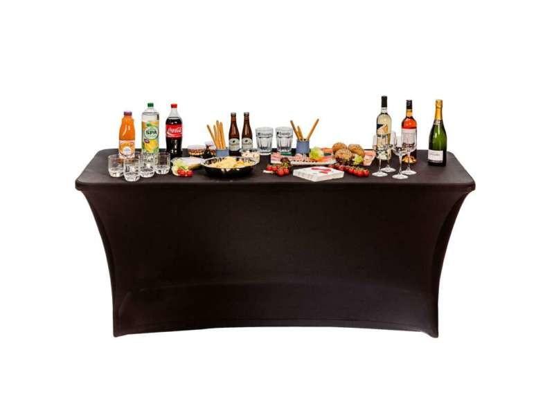 Housse nappe pour table pliante 180cm noir - Vente de Salon ...