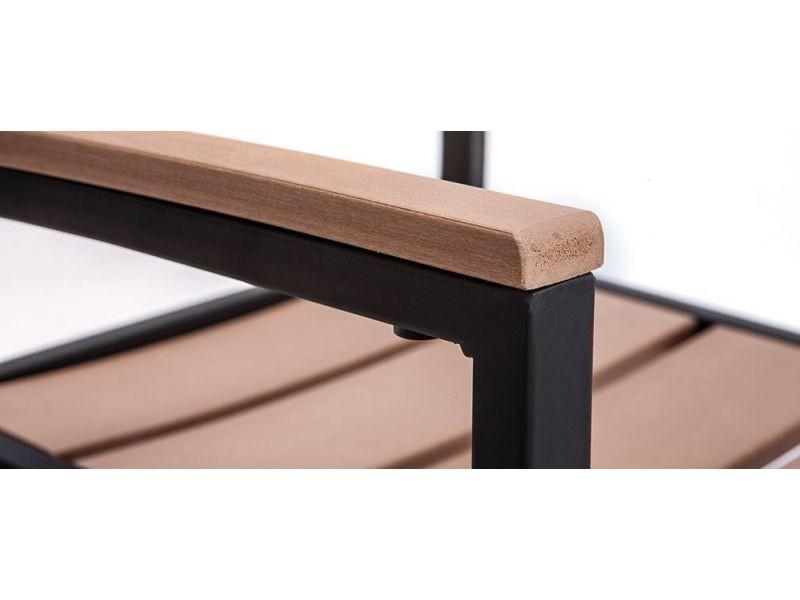 Salon de jardin avec table et 4 chaises noir et bois viaggio ...