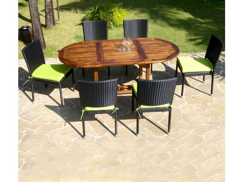 Salon en teck huilé 6 places - chaises de jardin en résine ...