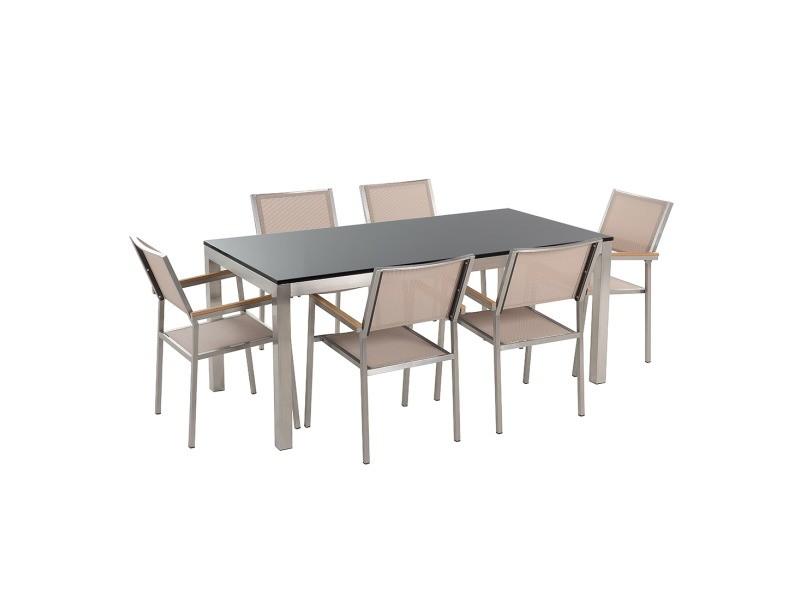 Table de jardin en plateau granit noir poli 180 cm et 6 ...