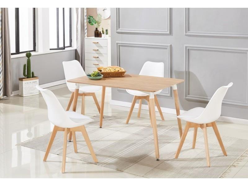 Charmant Ensemble Salle à Manger Moderne Lorenzo   Table Effet Chêne + 4 Chaises  Blanches   Design Scandinave
