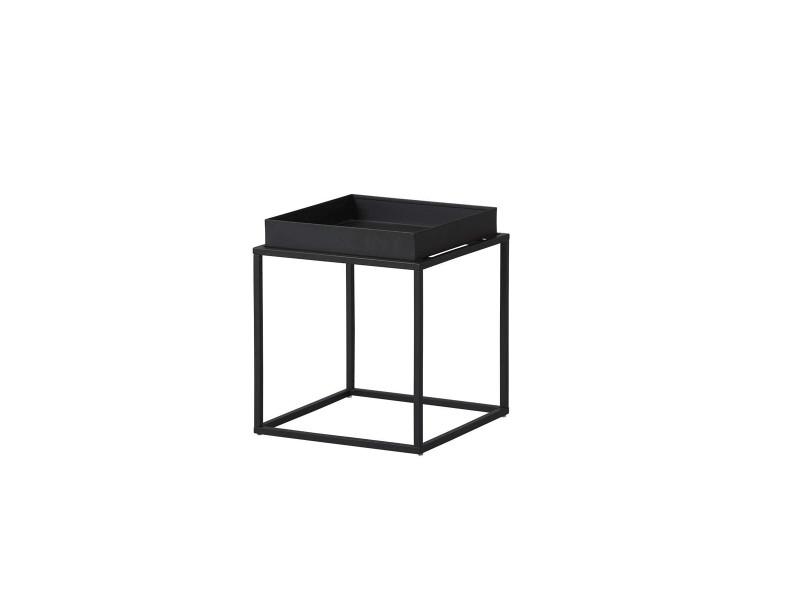 Table d'appoint en métal laqué coloris noir - l35 x p35 x h40 cm -pegane-