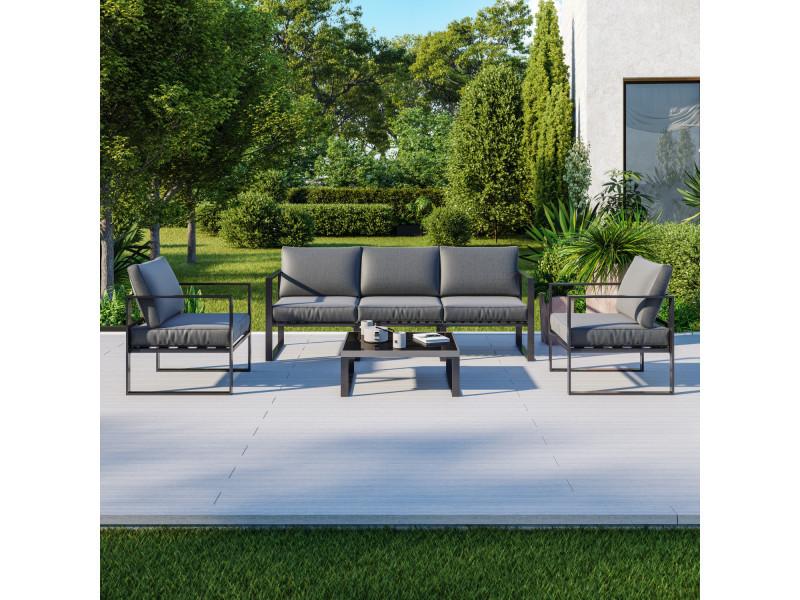 5 Places Salon De Jardin Design Aluminium Couleur Gris Figari Vente De Avril Paris Conforama