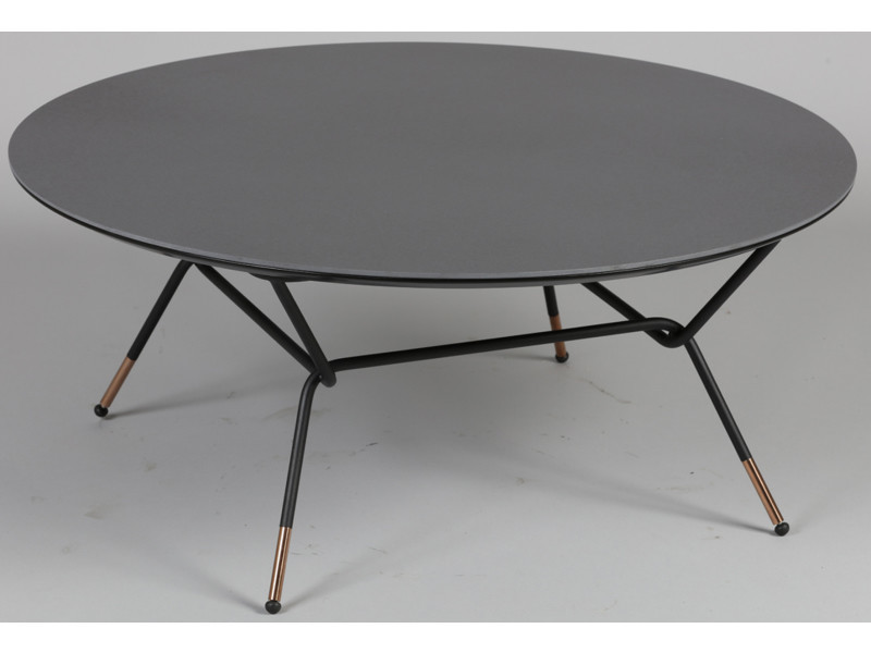 Table basse ronde en acier et mdf coloris anthracite - dim : l85 x l85 x ht 36 cm -pegane-