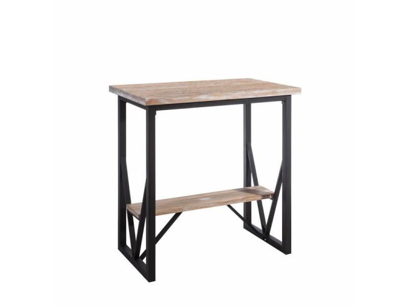 Table haute 100 cm en bois et métal joy - l 100 x l 60 x h 105