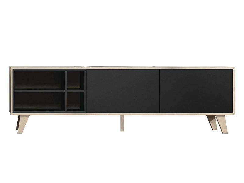 Meuble tv 180 cm - gris anthracite décor chêne