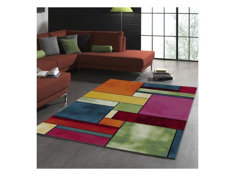 Tapis salon moderne et design belis 21821-110 rouge, orange, vert ...
