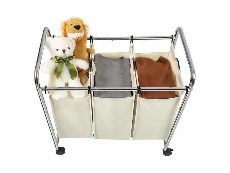 Rose ARTALL Chariot /à Linge avec Planche /à Repasser Panier /à Linge avec 3 Sacs Amovibles Corbeille /à Linge avec roulettes