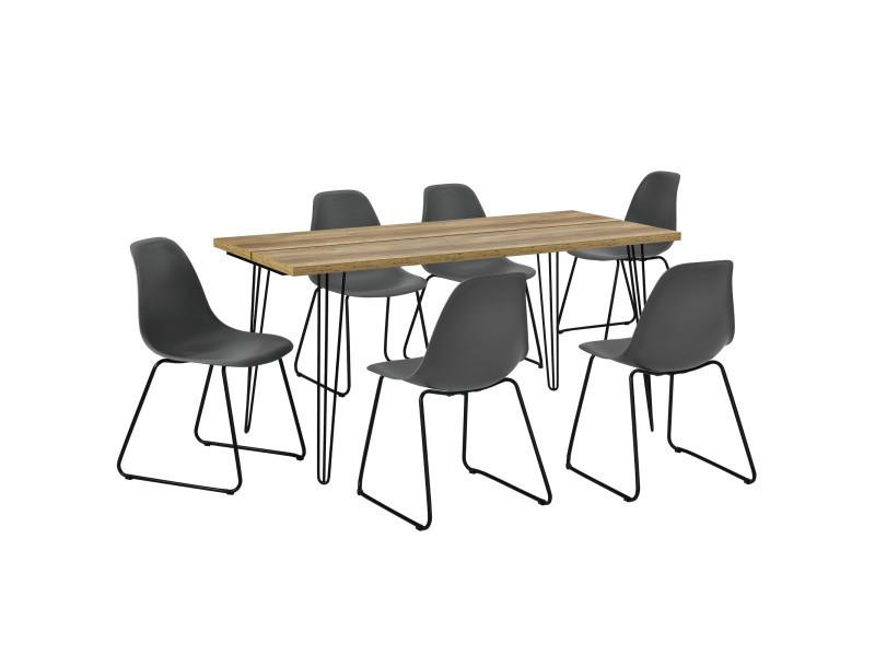 [en.casa]® table à manger design - bois avec pieds d'épingle à cheveux et 6 chaises modernes - gris
