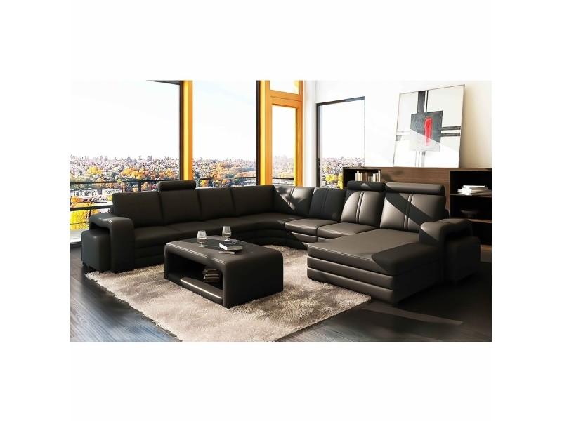 Cubana - canapé d'angle panoramique en cuir noir avec méridienne à droite