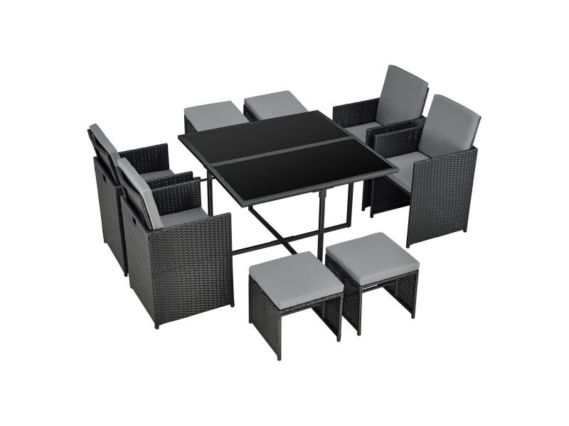 Salon de jardin de 9 pièces ensemble table 4 fauteuils 4 tabourets set de meubles extérieurs acier polyrotin polyester noir avec coussins gris foncé [en.casa]