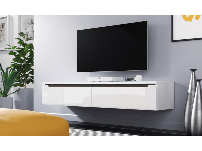 Meuble Tv Meuble De Salon Swift 140 Cm Blanc Brillant à