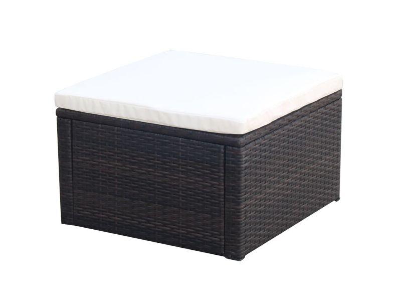 Inedit meubles damas tabouret / repose-pied résine tressée 53 x 53 x 30 cm marron