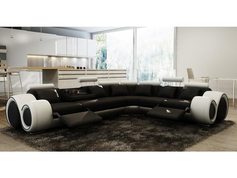 Canapé d'angle cuir noir et blanc + positions relax oslo (droit)-