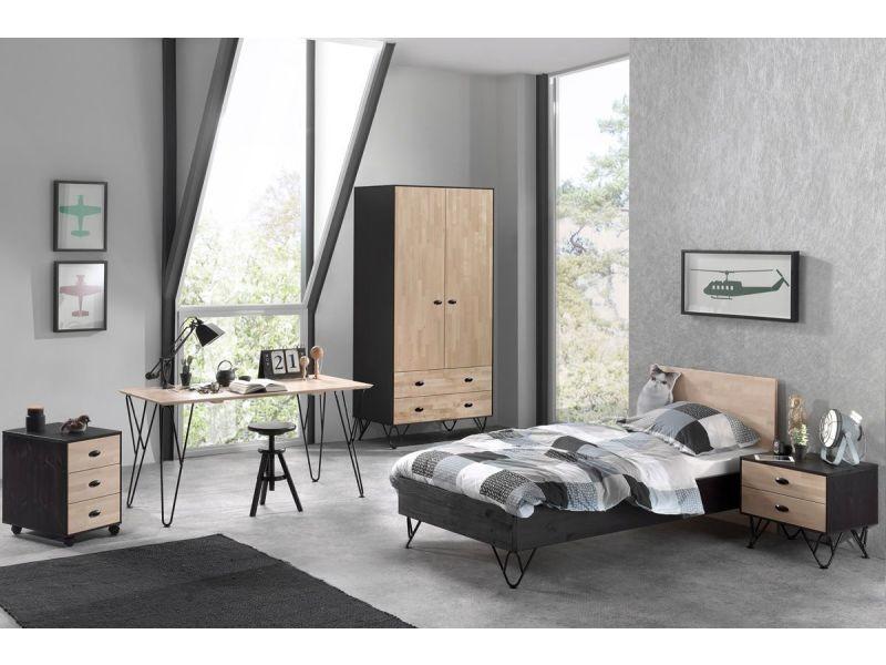 Ensemble 5 pièces pour chambre moderne avec lit 90x200 cm, chevet ...