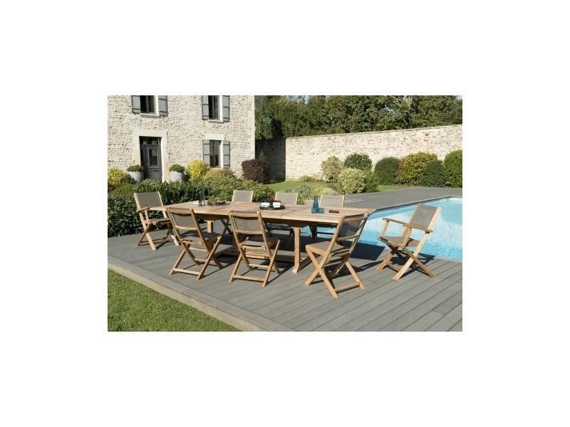Salon de jardin en teck et textilène avec 1 table rectangulaire ...
