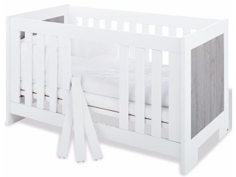 Lit bébé évolutif à barreaux 70x140 cm en mdf coloris blanc et gris ...