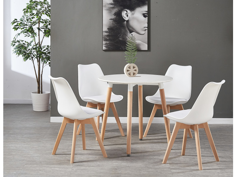 Table Blanche Ronde 4 Chaises Scandinaves Blanches Ensemble