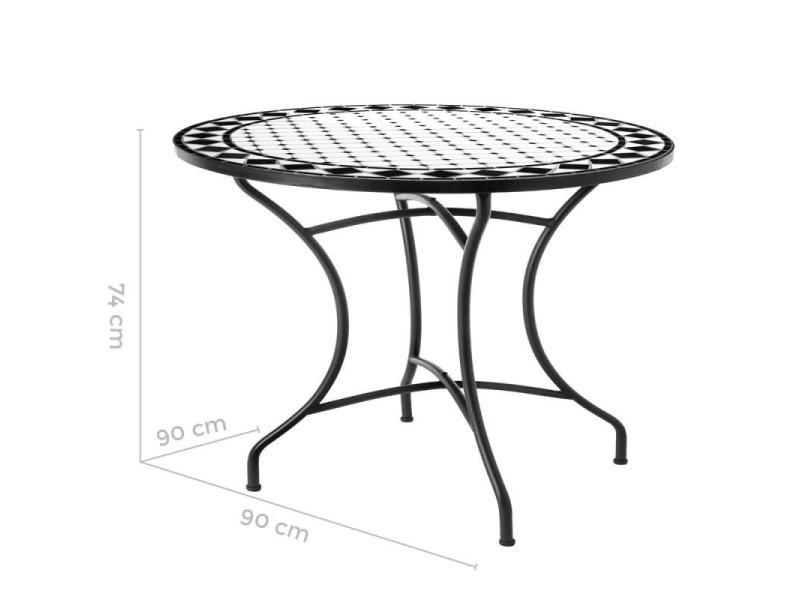 Table de repas ronde fer/céramique noir et blanc - mirihi ...