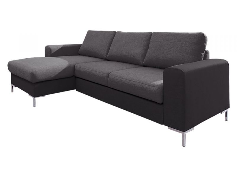 Canapé lilly angle gauche convertible coffre bicolore gris/gris anthracite 5906874136034