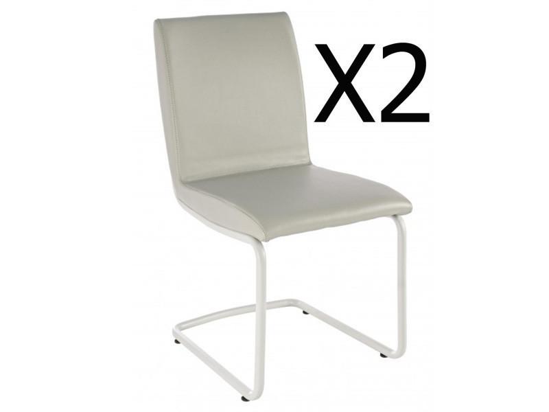 Lot de 2 chaises en métal et cuir coloris gris - dim : l 47 x p 60 x h 90 cm -pegane
