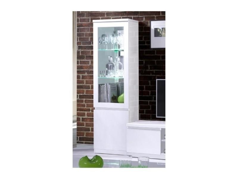 Vitrine petit modèle, bibliothèque fabio blanc brillant high gloss + led. Meuble design pour votre salon.
