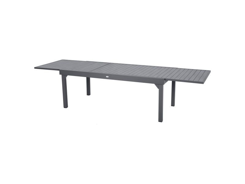 Table de jardin extensible piazza - 12 personnes - l. 200/320 cm - gris ...