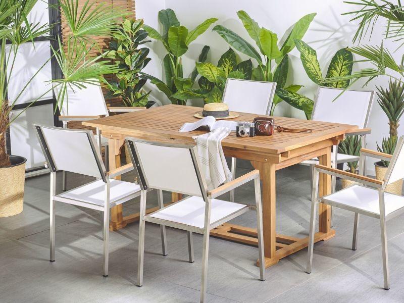 Table de jardin en bois rectangulaire avec rallonges java ...