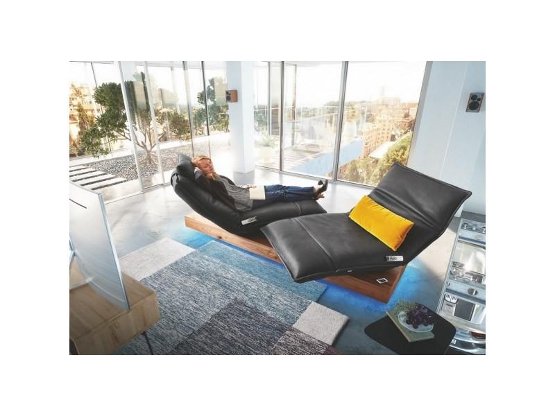 Double chaise longue cuir anderson day lounge noir relax électrique