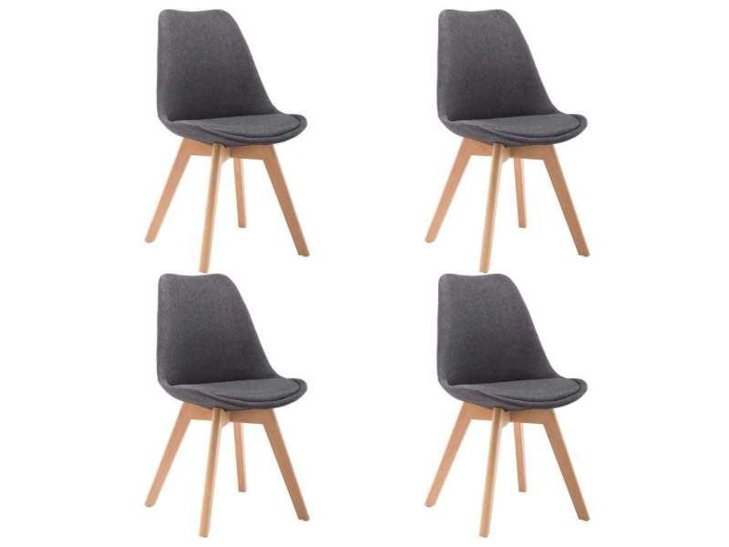 Vidaxl chaise de salle à manger 4 pcs gris foncé tissu